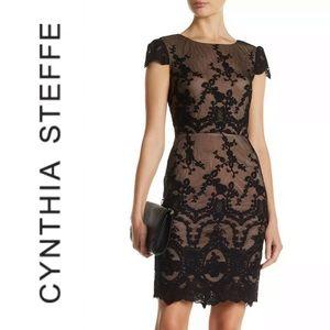 Cynthia Steffe Black Lace Cocktail Dress Size 6
